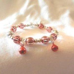 Stretch Striped Candy Jingle Bells Bead Bracelet